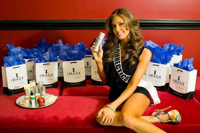 Miss USA winner, Erin Brady with a year's supply of IMAGE Skincare products.