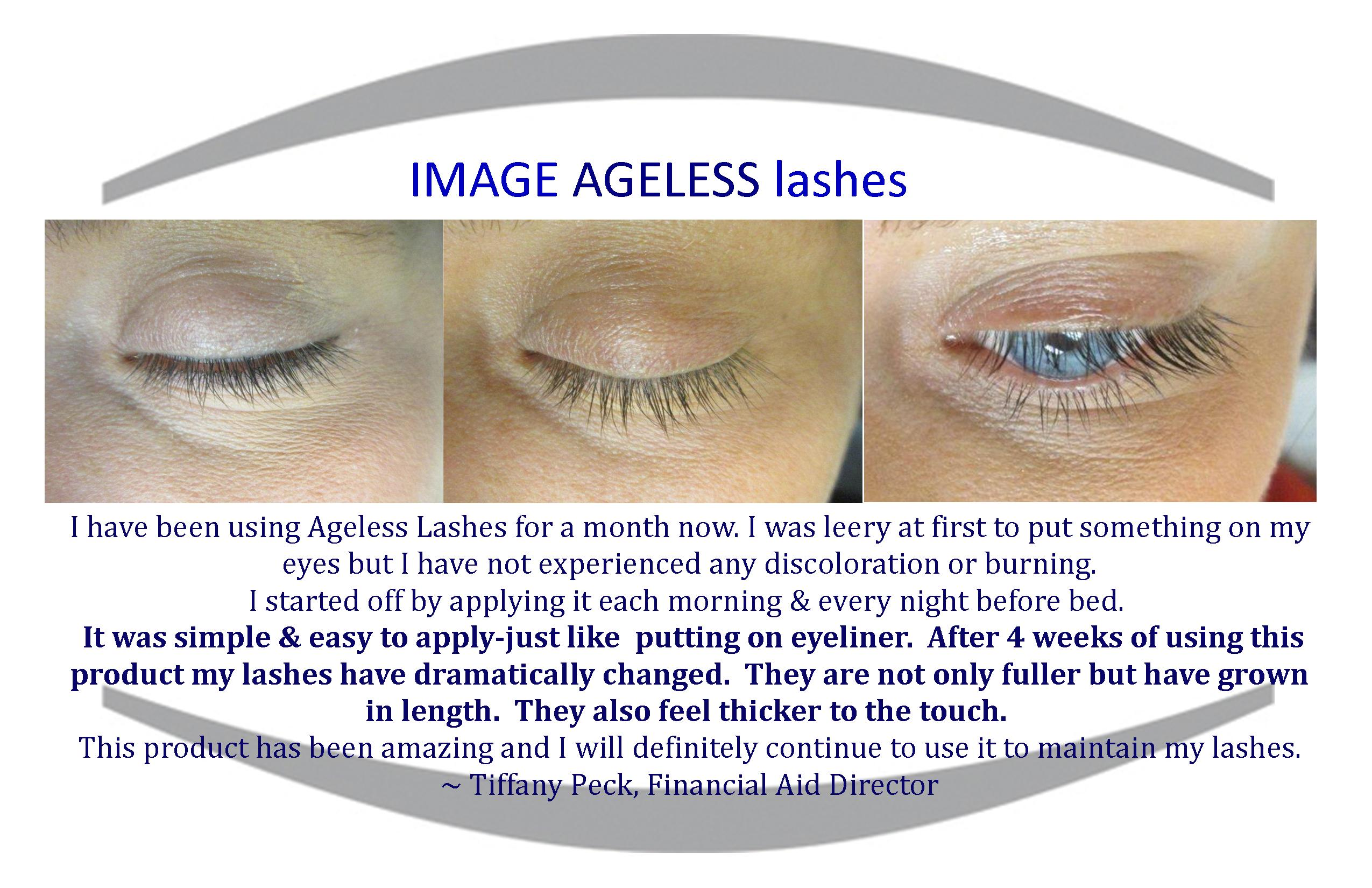 Customer testimonial for IMAGE's Ageless Lashes Clear.